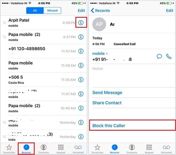 How to Block a Number on iPhone 6,6s