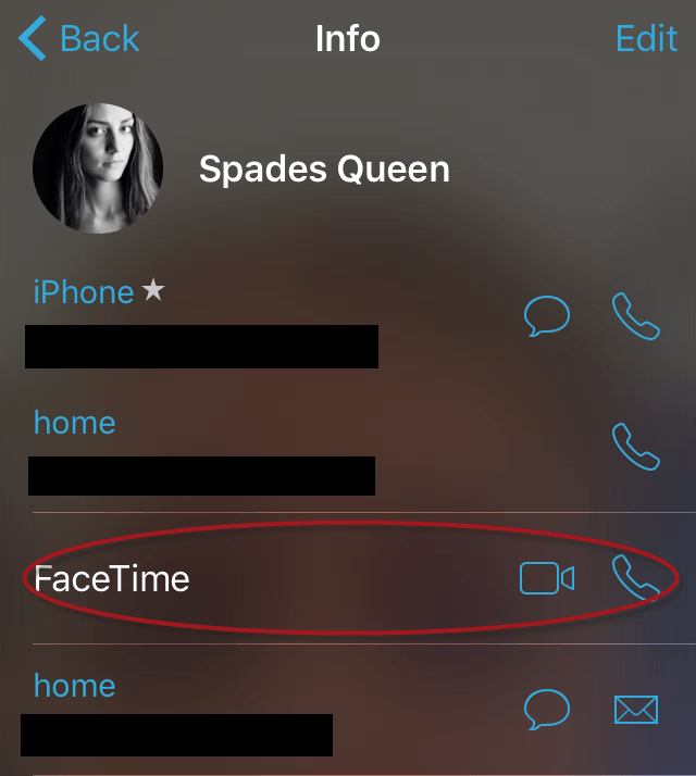 FaceTime call on iPhone
