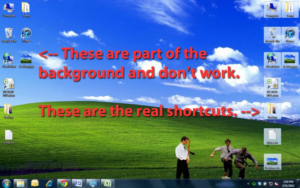 Dummy Desktop : computer shortcuts