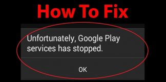 unfortunately google play services has stopped