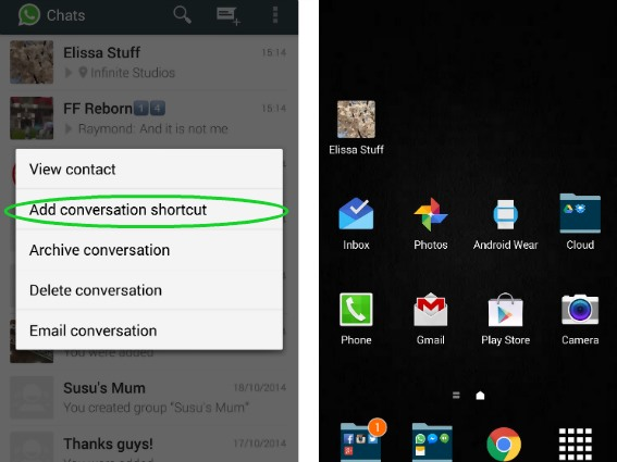 add whatsapp shortcut to conversation