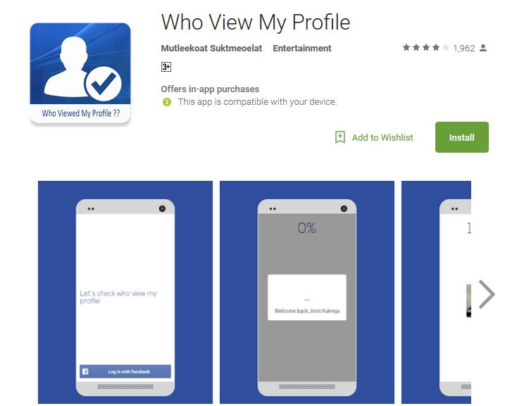 Android App for checking who viewed my Facebook profile