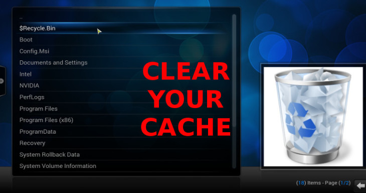 Select CLear Your Cache