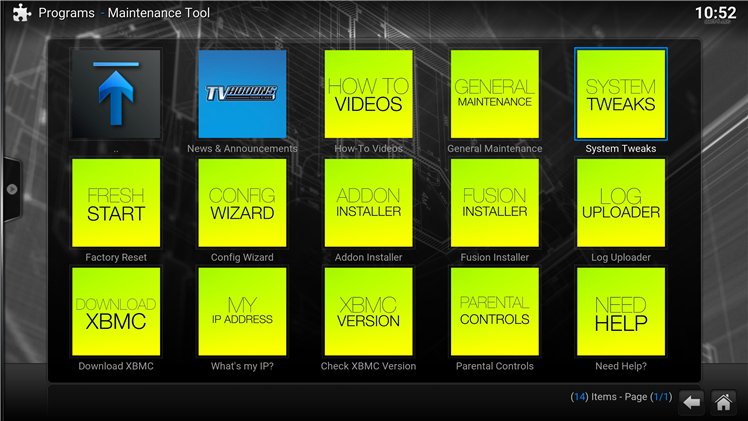 Options Screen Kodi