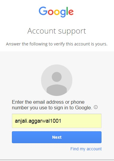 Gmail account support