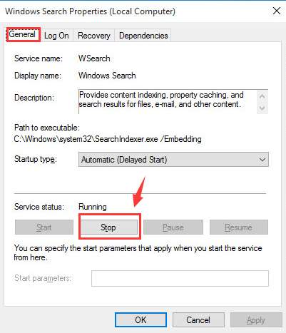 Disbale windows search system