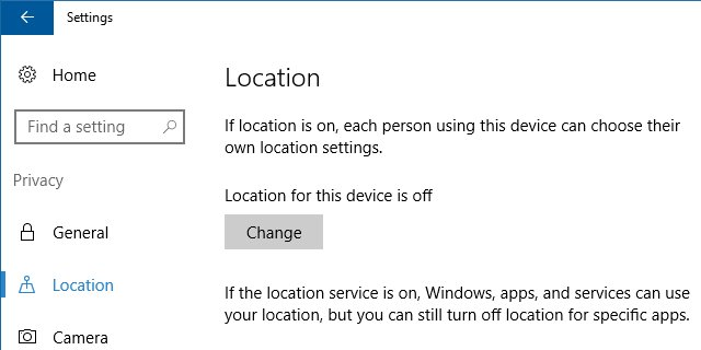 Location Settings can be checked