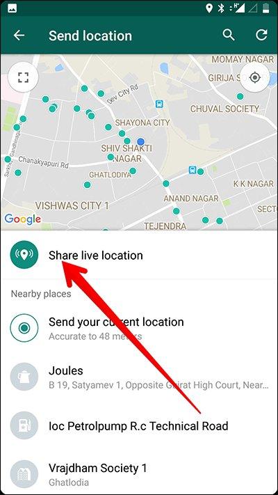 send live location