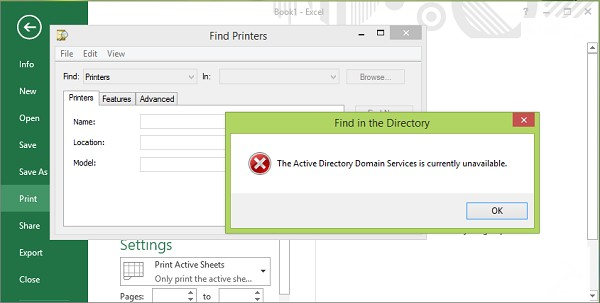 The active directory domain service is currently unavailable