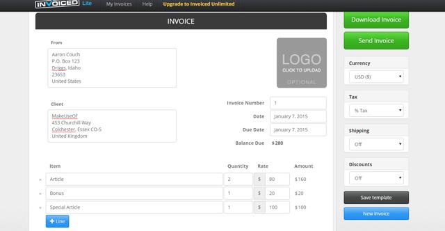 Invoiced Lite Free Invoice Generator