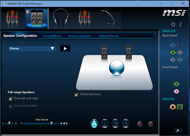 Realtek HD Audio Manager
