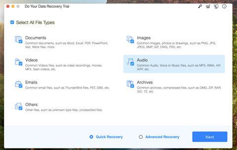 Do Your Data Recovery - Select File Types