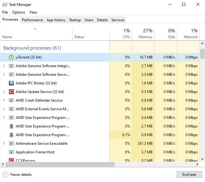 uTorrent on Task Manager