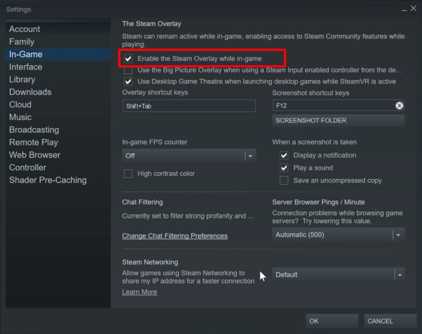 Enable Steam Overlay