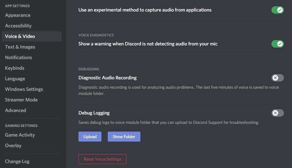 Reset Audio Settings